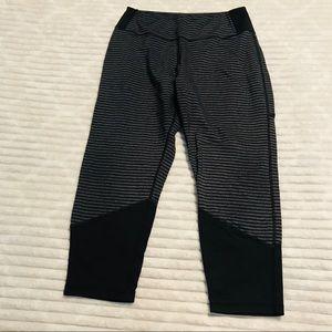 Kyodan Black Gray Striped Colorblock Capri Legging